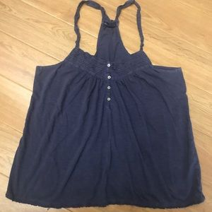 Button Front Tank with Ruffle Detail